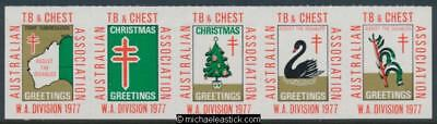 1977 The Australian TB and Chest Association, WA Division, strip of 5 stickers