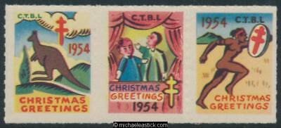 1954 strip of 3, Citizens Tuberculosis League CTBL Christmas seals
