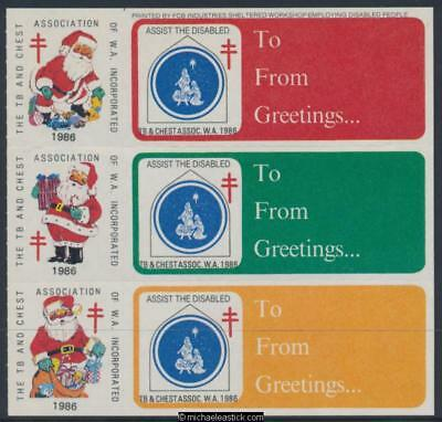 1986 block of 6, The TB and Chest Assn 3 Christmas seals and 3 labels