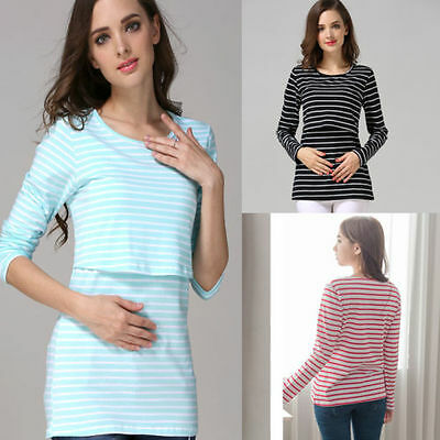 UK New Long Sleeve Breastfeeding Tops Maternity Clothes Women Nursing T-shirt