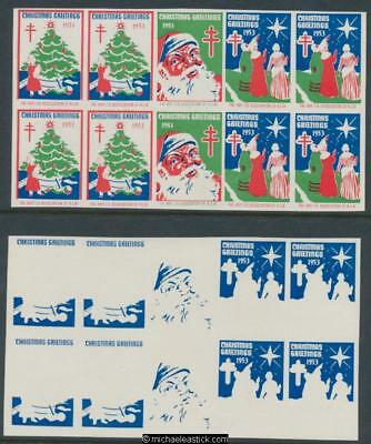1953 Imperf Proof set strip of 5 Christmas seals, Anti TB Assn