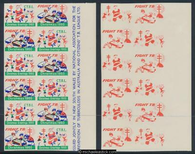 1960 Imperf proof set of 5 sheets, block of 12 Christmas seals
