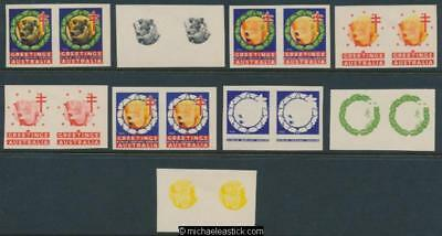 1950 Imperf proof set of 9 pairs, Greetings