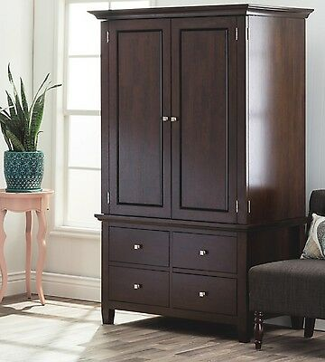 Armoire Storage Closet Brown Four Drawer Rod Shelves Cabinet TV Stand Video  Game
