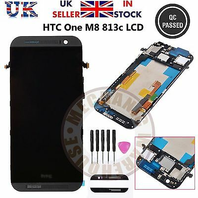 For HTC ONE M8 LCD Display Touch Screen Digitizer Frame Assembly Grey Full Unit