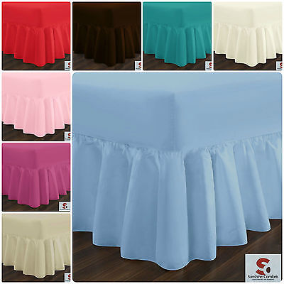 Poly Cotton Fitted Valance Sheet Plain Dyed Bed Sheet Single Double King S. King