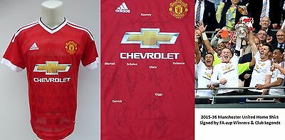 2015-16 Man Utd Home Shirt Signed by FA Cup Winners & Club Legends (10173)