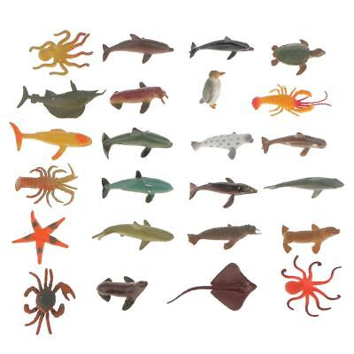 24Plastic Ocean Animals Figure Sea Creatures Model Toys Dolphin Turtle Whale