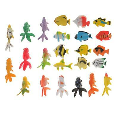 24Plastic Tropical Angel Fish&Goldfish Ocean Animals Small Figure Party Toys