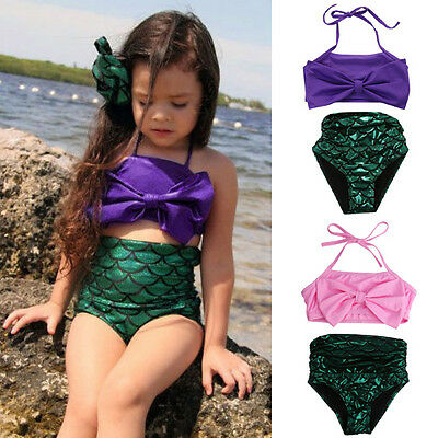 UK Kids Girls Mermaid Swimmable Bikini Set Swimwear Swimsuit Swimming Costume wr