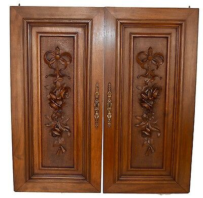 French Antique Louis XVI PAIR of Carved Salvaged Wood Door Panel - Cupboard