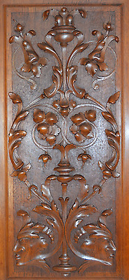 French Antique Neoclassical Large Carved Salvaged Wood Door Panel - Cupboard Men