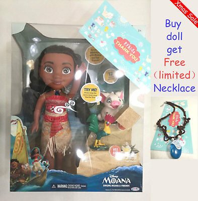 Moana Singing Music Action Figures Doll Maui Chick Hei Hei Pua Disney Girls Toys