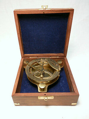 Maritime West London  Brass Sundial Compass Nautical W/teak Box