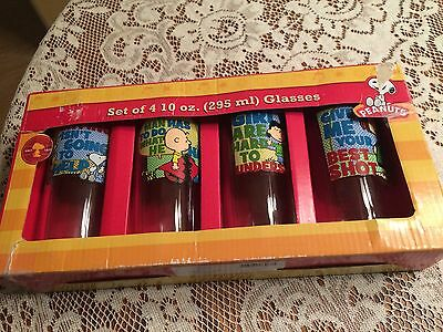 Peanuts Glasses 10 Oz Glass Tumbler Charlie Brown Snoopy Lucy Set Of 4