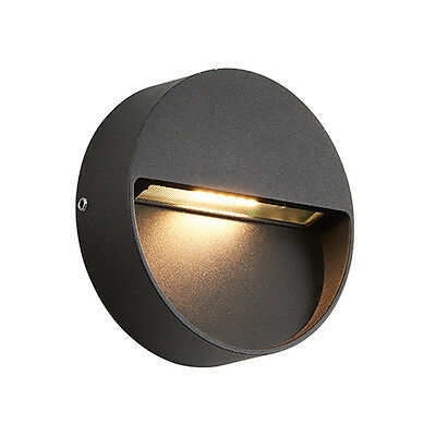 Saxby 69935 TUSCANA Round Matt Black 3W LED IP44 Indirect Outdoor Wall Ligh