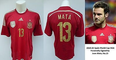 2014-15 Spain World Cup Shirt Signed by Juan Mata No.13 - Man Utd (10185)