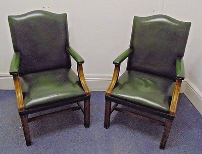 Vintage Green Leather Gainsborough Chair Bankers Fireside Office Armchair Used