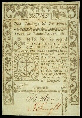 May, 1786 Rhode Island Colonial 2 Shillings  & 6 Pence Currency Note Ri-293 Vf