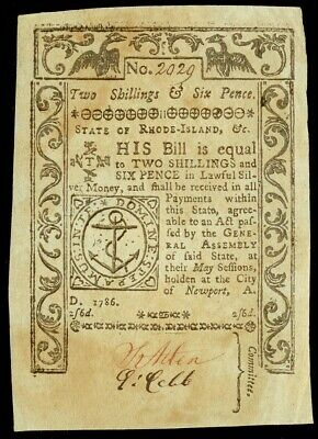 May, 1786 Rhode Island Colonial 2 Shillings  & 6 Pence Currency Note Ri-293 Xf
