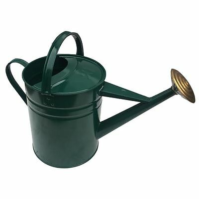 Quality Heavy Duty  2 Gallon Green  Galvanised Metal Watering Can + Brass Rose
