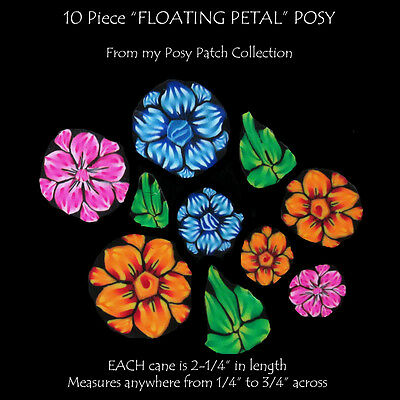 """FLOATING PETAL Posy set of 10 Polymer clay canes EACH  2-1/4"""" Long by CHarm"""