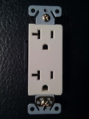 (30 pc) Decorator Duplex Receptacles 20 Amp Almond Self Grounding 20A Outlets