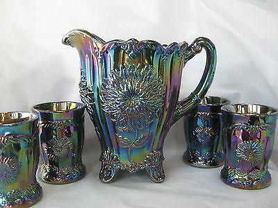 Mosser Glass DAHLIA PURPLE CARNIVAL Pitcher & 4 Tumblers Set- FACTORY SHIPPING