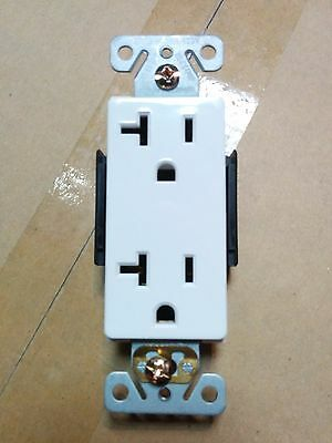 (10 pc) 20A Decorator Duplex Receptacles 20 Amp Decora Outlets WHITE Commercial