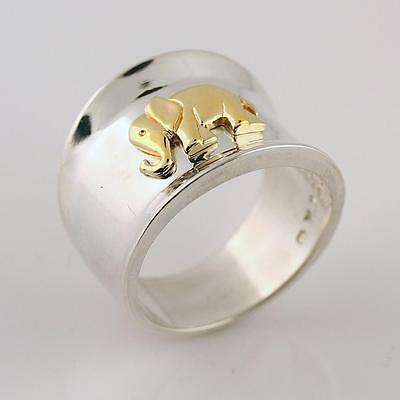 Solid 14k Yellow Gold Lucky Elephant Ring 925 Sterling Silver Band