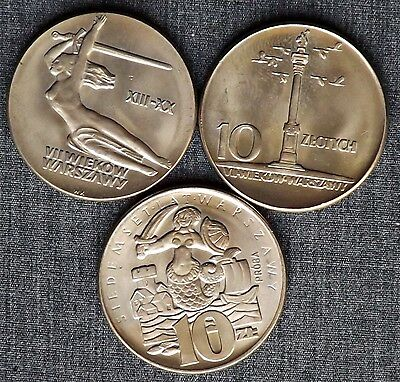 10 zlotych 1965, Mermaid & Two Others Pattern Coin, UNC ~ LOT OF 3