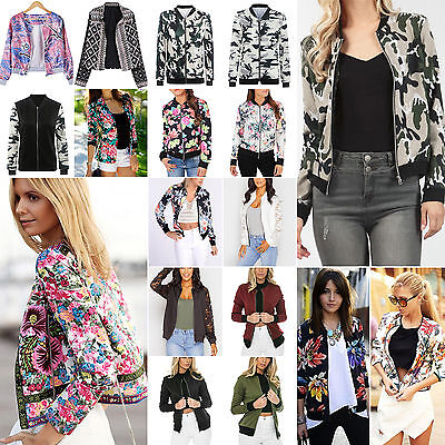 Womens Classic Army Style Jacket Casual Zip Up Biker Vintage Coat Blazer Suit