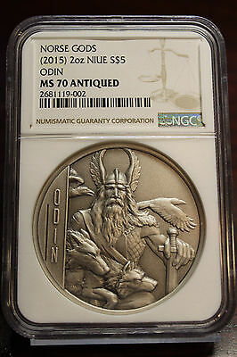 2015 $5 Niue 2 Oz Silver Norse Gods Odin NGC MS70 Antiqued Ultra High Relief 750