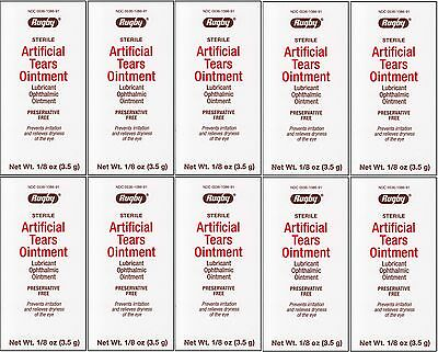 Artificial Tears Sterile Night Time Eye Lubricant Ointment 3.5 g Tube 10 PACK