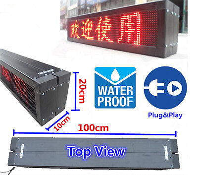 "Waterproof Programmable 8""x40"" P10 LED Display Panel Scrolling Message Text Sign"