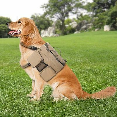 Anself Canvas Dog Backpack Saddlebag Travel Hiking for Medium & Large Dogs O5I7