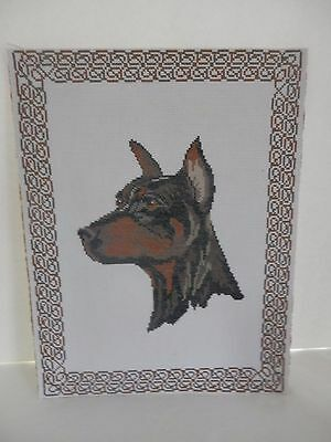 Doberman Pinscher Finished Counted Stitch Needlepoint Dog Picture Art