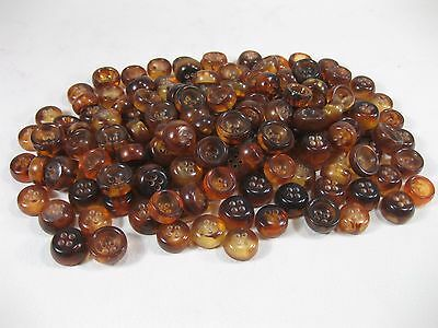 Vtg. 17mm Plastic 4 Hole Amber Colored Buttons  200g  Vintage Stock !!