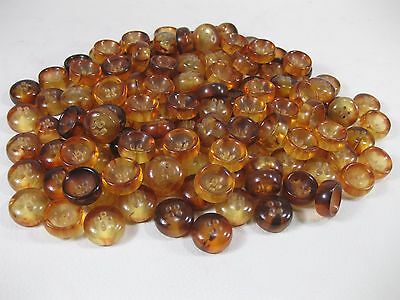Vtg. 20mm Plastic 4 Hole Amber Colored Buttons  300g  Vintage Stock !!