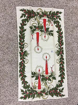 "VTG Christmas Table Runner Wall Hanging Belgian Linen 16"" X 30"" Candles Holly"