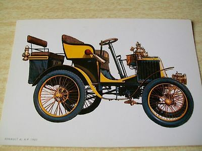 Auto Car 1901 RENAULT 4,5 HP Antique Unposted Spain Postcard Post Card