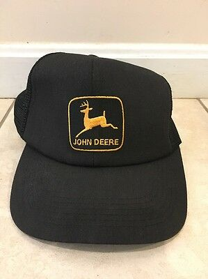 Vintage K Products John Deere Tractor Hat Black mesh Trucker Cap Farmer USA Snap