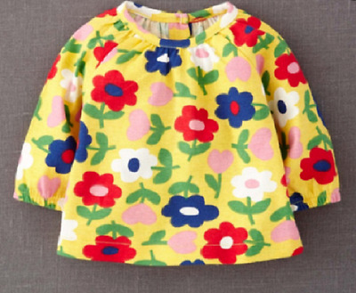 Baby Boden  0 3 6 12 18 24 Months Baby Girls Yellow Flower Jersey Top T-Shirt