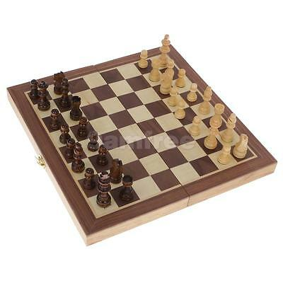 Portable Wooden Folding Chessboard Chess Set Pieces Toy Kids Gifts 29.5cm