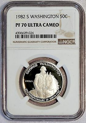 1982 S 50C US Washington Half Dollar Proof Coin (NGC PF 70 ULTRA CAMEO) (03998)