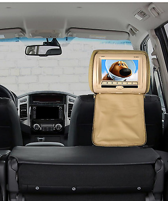 """Pyle 7"""" Wide Screen HiRes Car Headrest Monitor DVD USB SD IR FM REMOTE Tan Cover"""