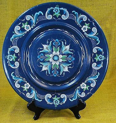 "Vtg Norwegian Rosemaling - 14"" Wood Plate Tray Folk Art Blue Professional Artist"