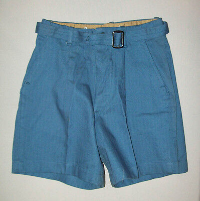 nice old vtg SANFORIZED SHORTS blue hbt belted deadstock nwt button fly size 8