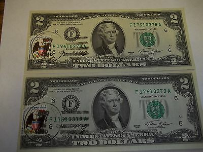 Us Currency Lot Of 2 Two Dollar Bills Consecutive Numbers Free Shipping