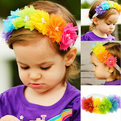 US Headband Kids Girl Baby Toddler Bow Flower Hair Band Accessories Headwear